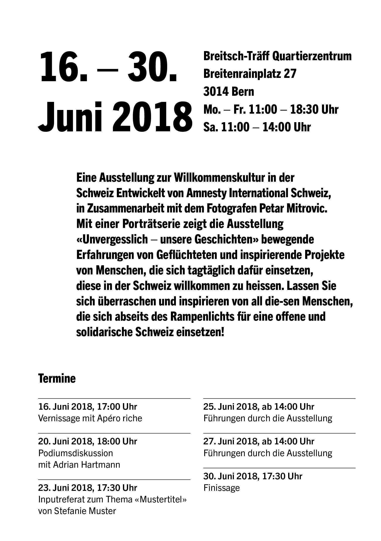 Flyer, Ausstellung «Unvergesslich: unsere Geschichten»