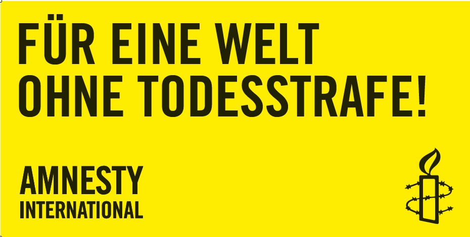Banner «Für eine Welt ohne Todesstrafe»