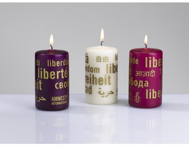 Kerzen 12er-Set  Aubergine - Himbeer - Crème, Angebot für Amnesty-Gruppen