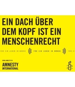 Banner «Ein Dach über dem Kopf ist ein Menschenrecht»