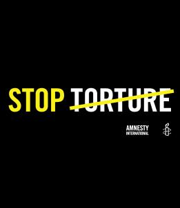 Bannière «STOP TORTURE», à emprunter