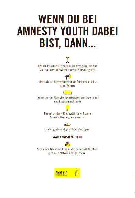 Flyer «Amnesty Youth»