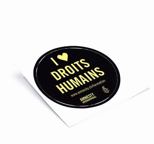Sticker I love human rights / J'aime les droits humains
