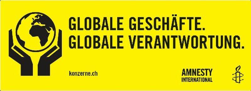 Banner «Globale Geschäfte. Globale Verantwortung», zur Ausleihe