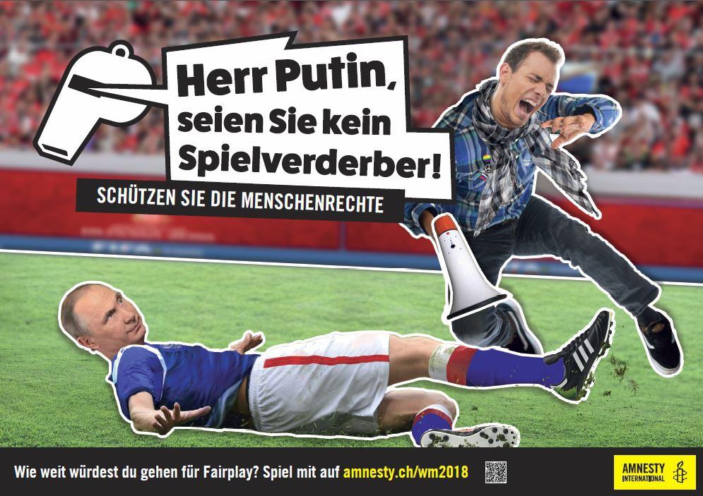 Plakat «Herr Putin, seien Sie kein Spielverderber!»