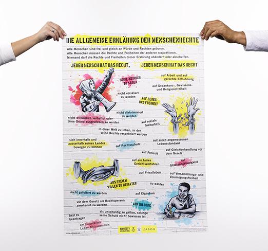 Poster Allgemeine Erklärung der Menschenrechte in verschiedenen Sprachen